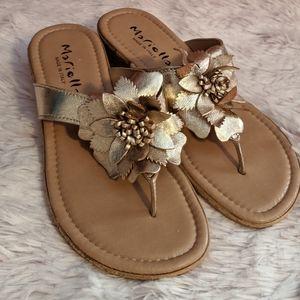 Mariella Gold Flower Sandals